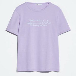 NEW Zara Slogan Spell Out Graphic T-Shirt Size XL